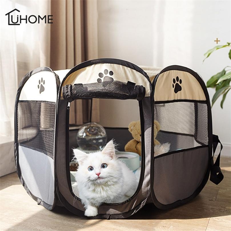 Pet Dog Cat Tent House Casa plegable Gato Sala de entrega Cojín de dormir Perrito Animal Cueva Cueva Camas para dormir Casa Nest Kennel Pet Supply 201218