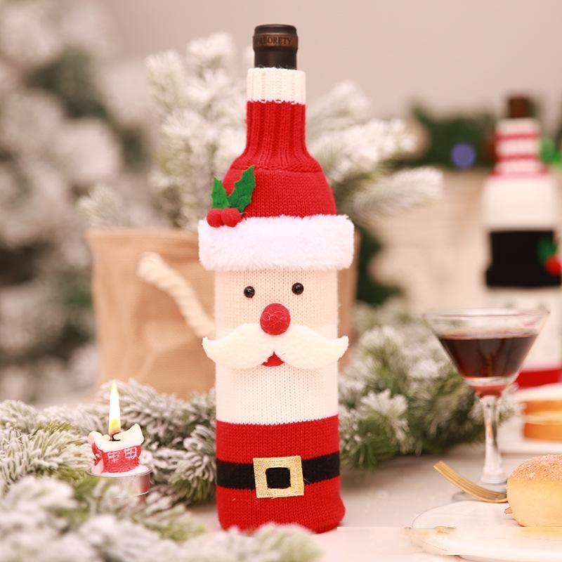 Hot Style Christmas Decoration Supplies Bottle Set Champagne Wine Creative Wine Set Hotel Restaurant Holiday Decoration