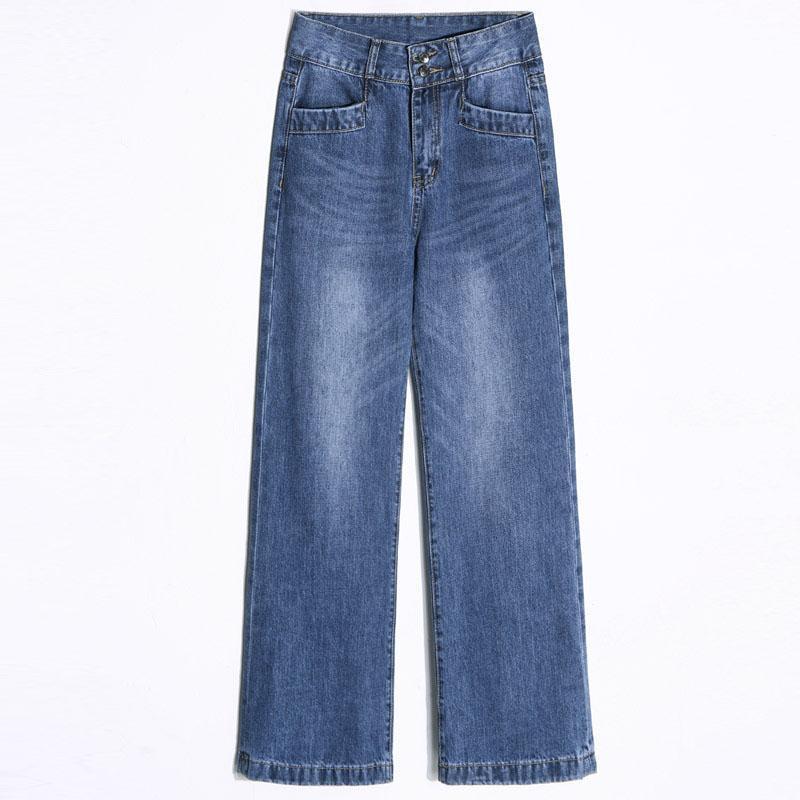 Moda-Geniş Bacak Kot Kadınlar Ile Yüksek Artı Boyutu Gevşek Kot Bayanlar Geniş Bacaklar Düz Flare Moda Kadın Sonbahar Pantolon OK540