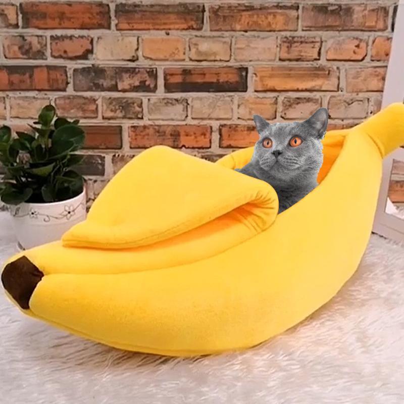 Kedi Yatakları Mobilya Sevimli Muz Yatak Evi Sıcak Pet Yavru Yastık Kennel Kediler Için Taşınabilir Mat Yavru Yumuşak Cama Gato Malzemeleri