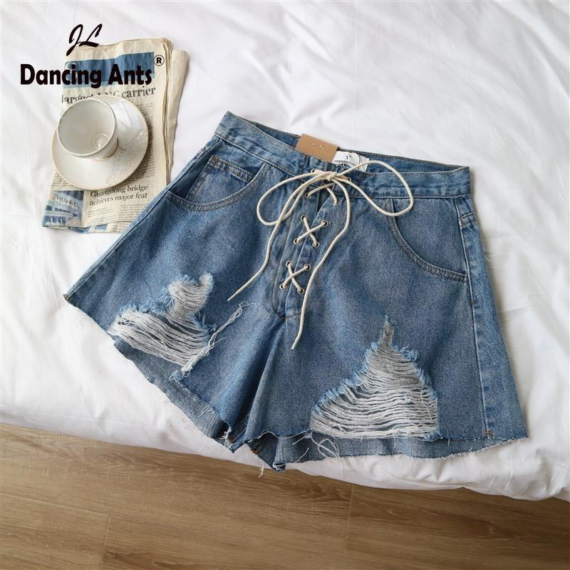 Jeans Shorts Donna Breve Lace-Up Hole strappato largo streetwear Streetwear Sexy Moda Donna Denim Shorts