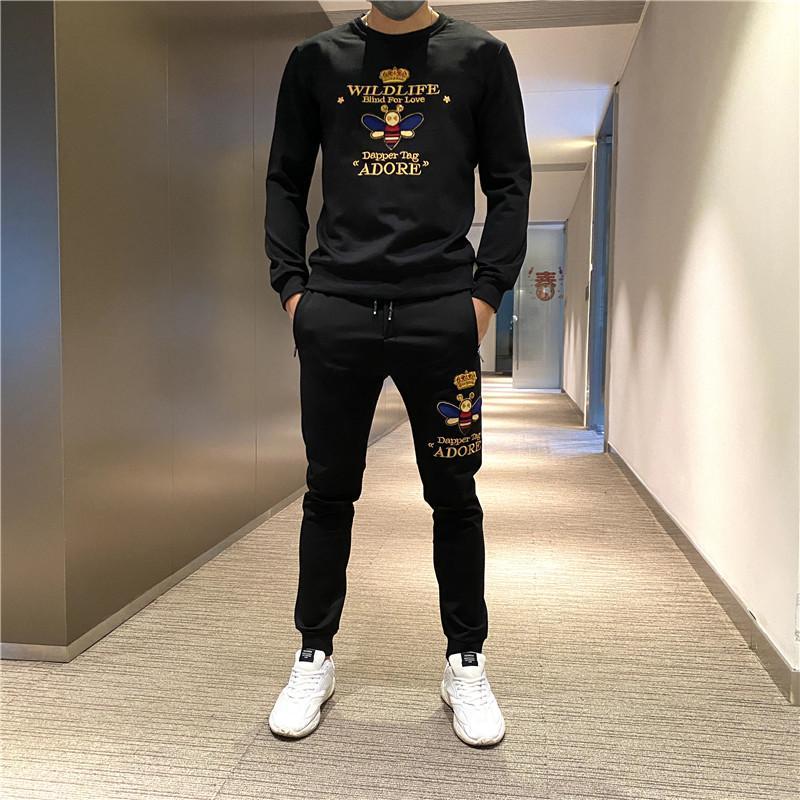Freeship Erkek Lüks Eğlence Siyah Polar Nakış Uzun Kollu T Gömlek Pantolonlu / Moda / Kalça Üst / Stil Eşofman / Asya Boyutu