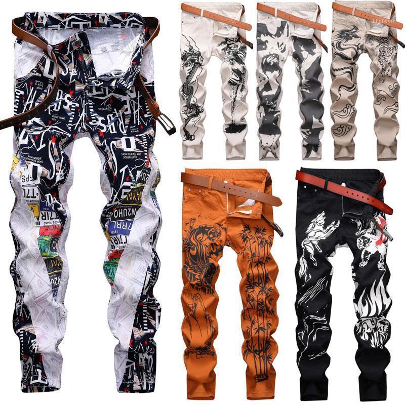 Hommes Skinny Jeans Pant floral Pant décontracté Slim Fit Denim Hommes Jeans occasionnels Long1