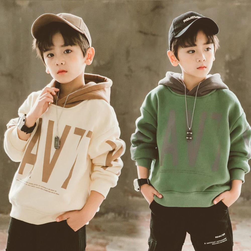 Suéter de niños de felpa de lujo de lujo 2020 cuhk con capucha suelta y espesada para niños coreano top de moda