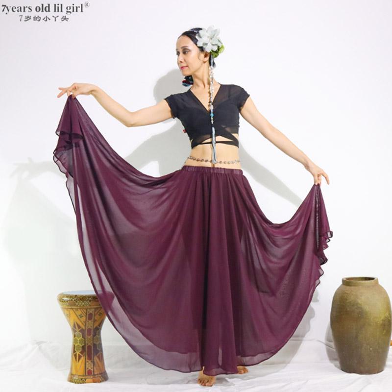 2019 dancewear barriga dançando roupas longas saias cheios círculo profissional barriga dança chiffon saia 300 graus1