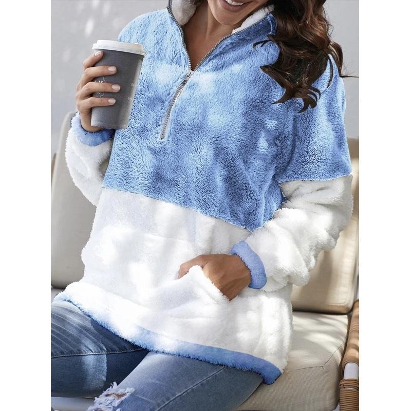 2021 Fashion Warm Coats Women Sweatshirt Casual Winter Turtleneck Female Pullover New Patchwork Zipper Pockets Lady Loose Jacket