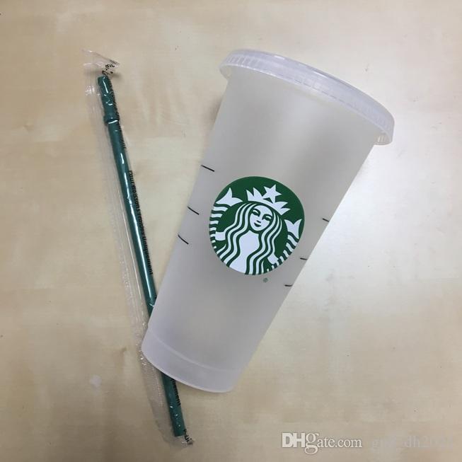 جديد ستاربكس 24 أوقية / 710 ملليلتر البلاستيك بهلوان reusable واضح شرب شقة أسفل كوب عمود شكل غطاء القش القدح bardian 100 قطع dhl شحن مجاني
