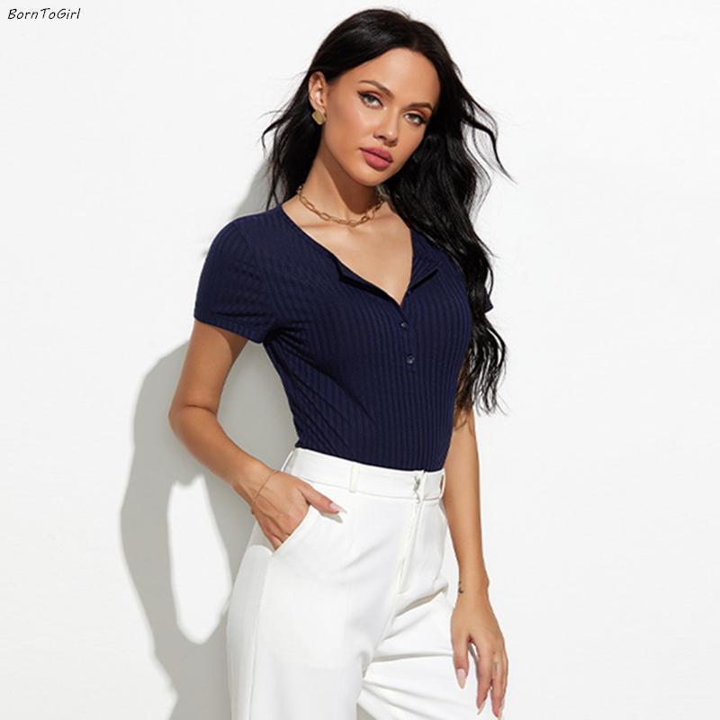 BorntoGirl 2020 Summer Automne Sexy Body Femmes manches courtes en V cou noir bleu marine bleus bodysuits costume1