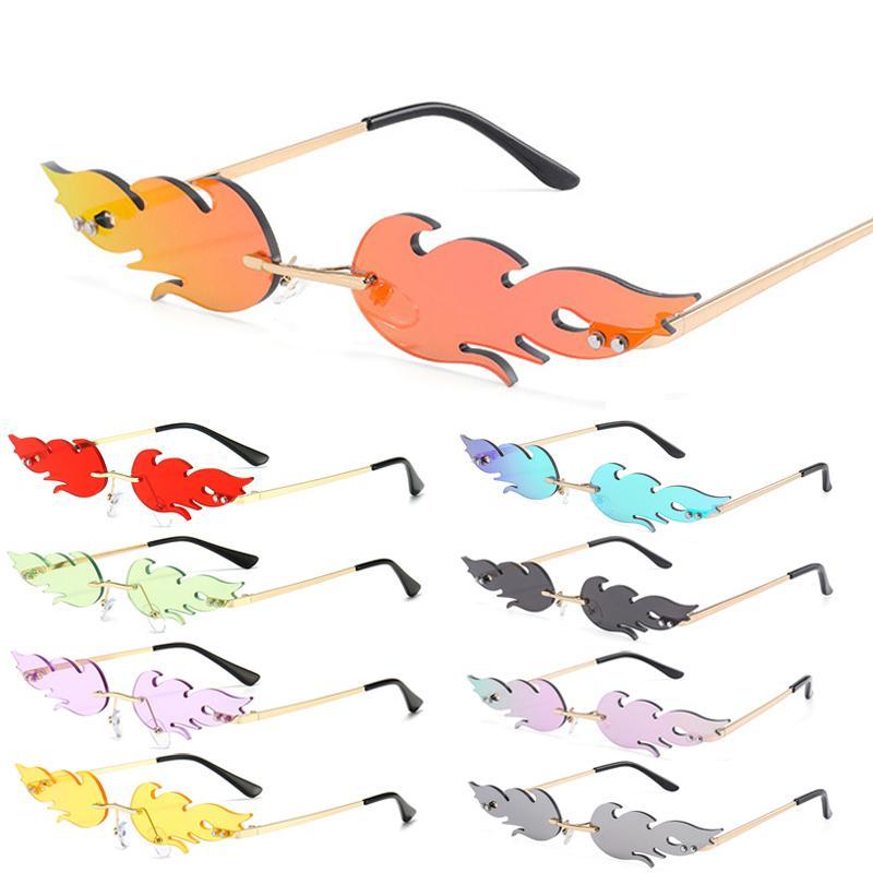 Mujeres sin montura ola gafas de sol de lujo moda de metal tonos vintage mujeres espejo gafas UV400 2020 Fuego de fuego caliente Gafas de sol