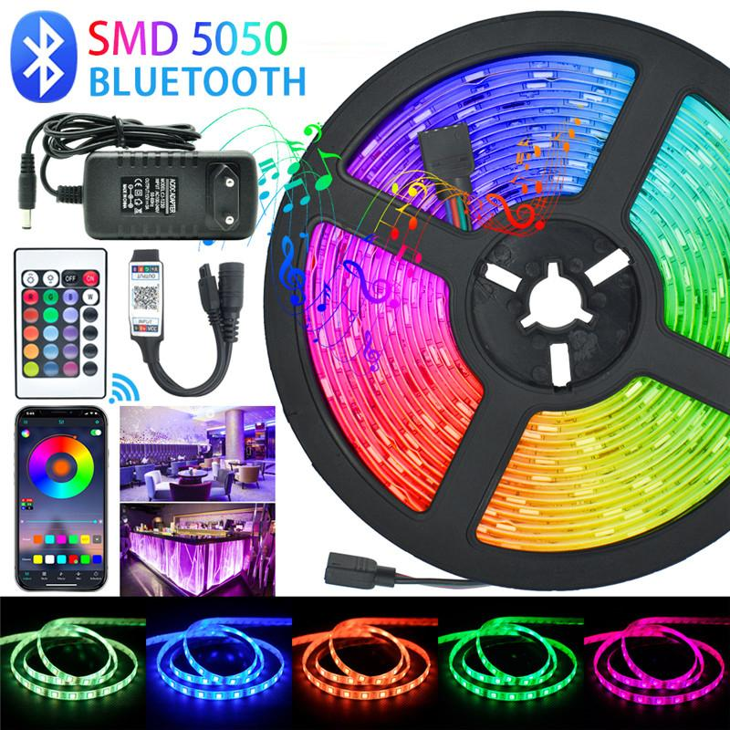 5M Tira do diodo emissor de luz 5050 IP65 IP65 RGB LED luz fita fita fita DC 12V RGB Diodo Fita Adaptador Controlador Bluetooth