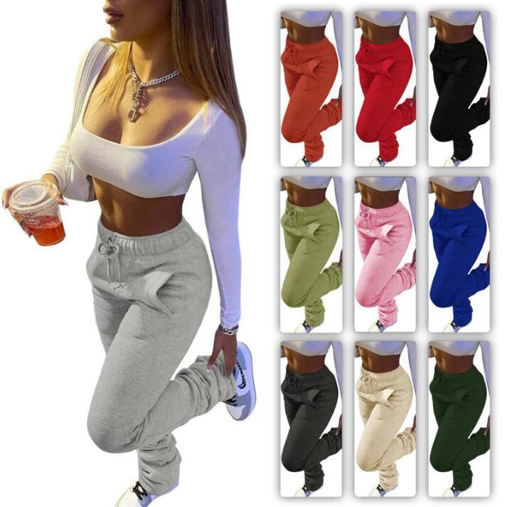여성 바지 디자이너 스포츠 캐주얼 Drawstring 포켓이있는 스택 바지 스택 10 색 숙녀 새로운 패션 레깅스 Jogger 바지 Zyy310