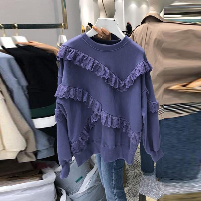 Осенние моды женские ожерелье с длинными рукавами полые кружевные оборками повседневные свинцы дамы пуловер толстовки A4465