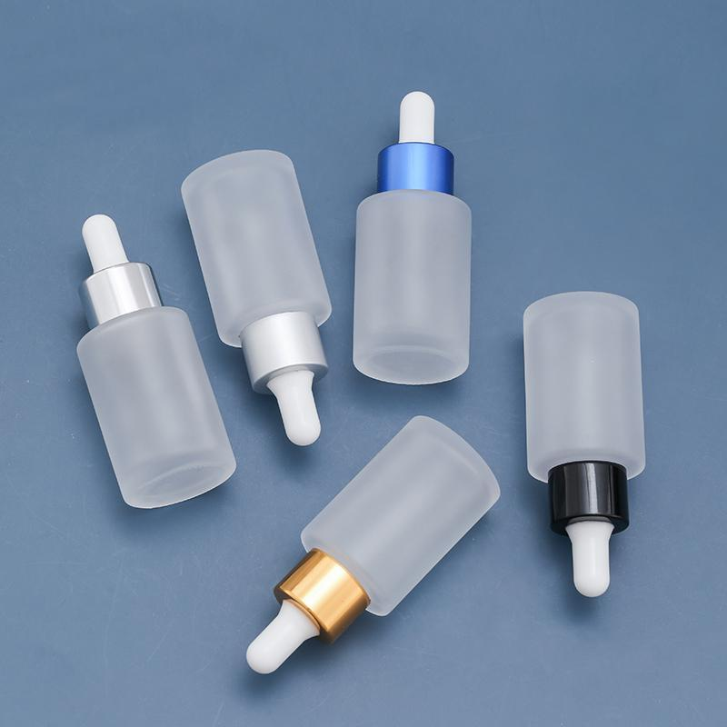 Cosmetic Small Frosted Glass Bottle 30ml Dropper Glass Container with oil Bottle Transparent Empty Spray