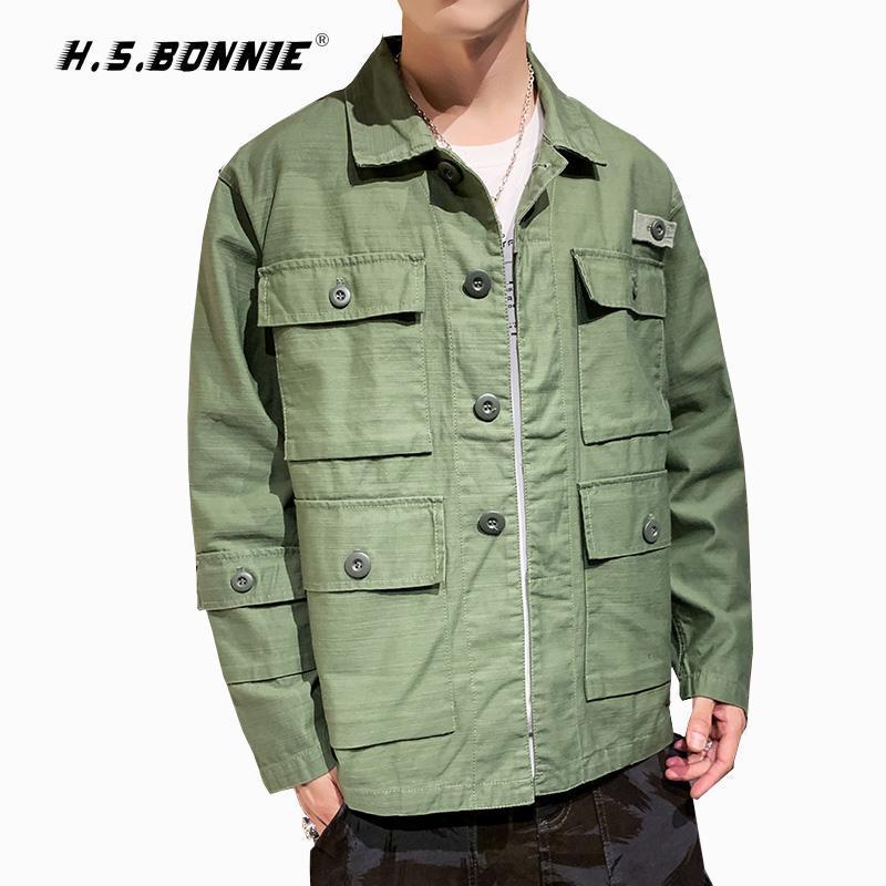 100% coton 2020 NOUVEAU Style Casual Bombardier Jacket Hommes Hip Hop Windbreaker Vestes Mâle manteau Fashion Automne Hiver Amy Streetwear