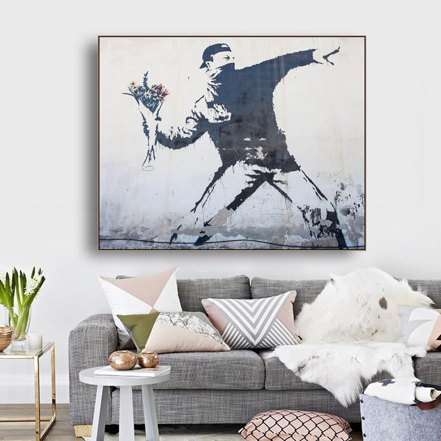 Aşk Hava Banksy Içinde Tuval Boyama Modern Soyut Duvar Sanatı Poster Baskılar Duvar Resim Oturma Odası Ev Dekorasyon Için
