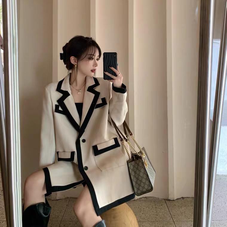 Britische Wind Gebratene Straße Freizeit Net Rot Kleinanzug Frauen Herbst Koreanische lose Anzug Mittlerer Länge Temperament Top Mantel