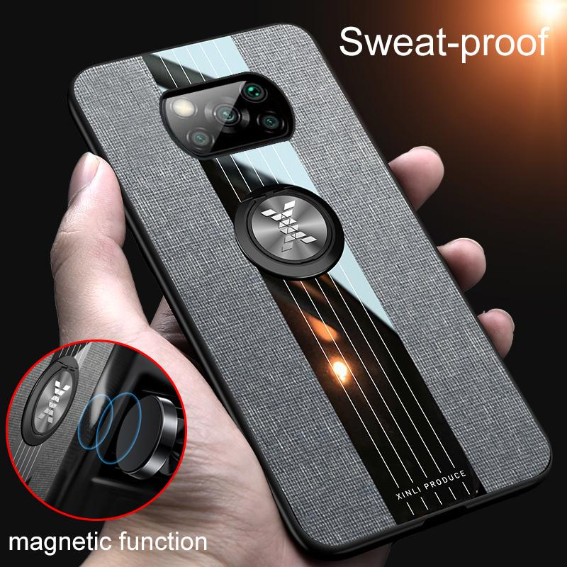 For Xiaomi Poco X3 Case Luxury Canvas Ring Case for Xiaomi Poco X3 NFC Cover Sweatproof Car Holder Magnetic Accessories (XS1127)