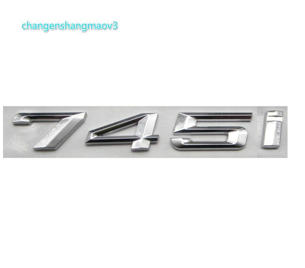 Krom Parlak Gümüş ABS Numarası Mektuplar Kelimeler Araba Trunk Rozeti Amblem Mektup Çıkartması Sticker BMW 7 Series 745i için