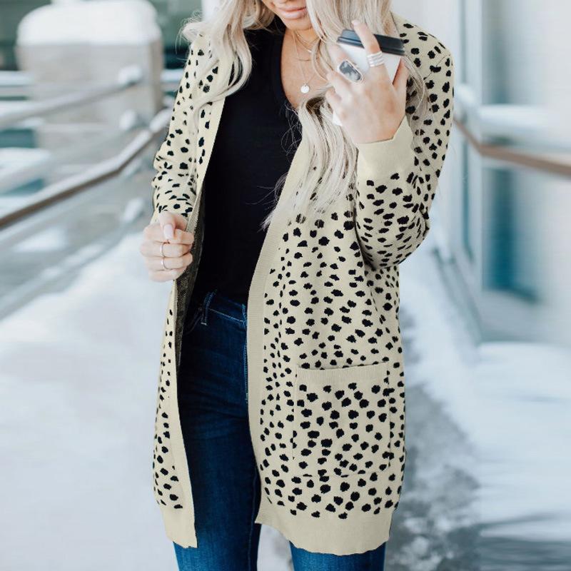 حطبة النساء المحملات الخريف الشتاء سترة امرأة البلوزات عارضة سترة طويلة الأكمام ليوبارد قمم والبلاد للأزياء 2021