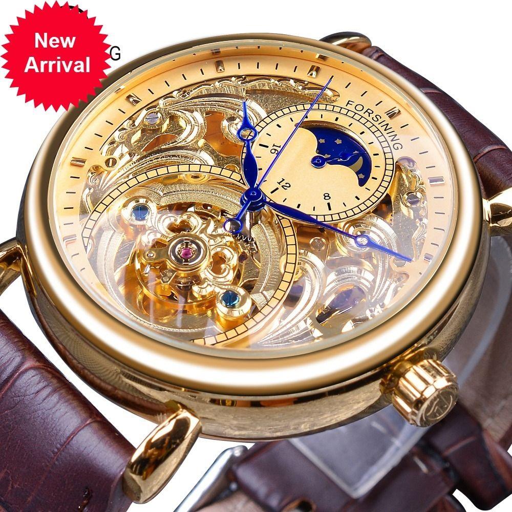 Forsining Royal Golden Skeleton Afficher Blue Mains Marron En Cuir Véritable Courroie Mens Monfaux Montres mécaniques Horloge Holle