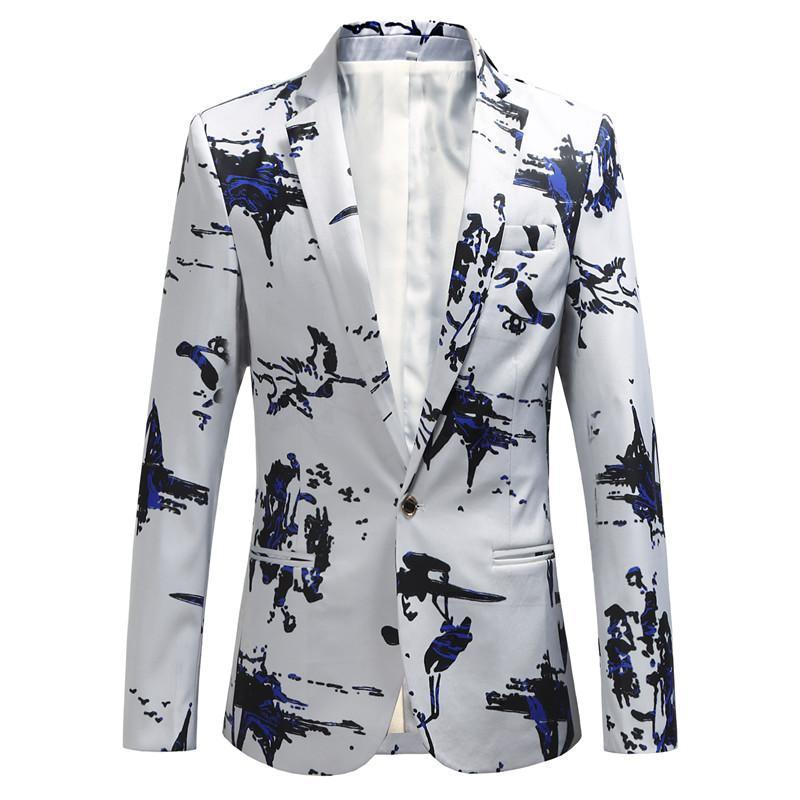 Trajes para hombres Blazers Autumn Fashion Print Party Traje de boda Chaqueta / Masculina Slim Fit Flower Alta Calidad Tamaño grande 6xl Blazer Coat