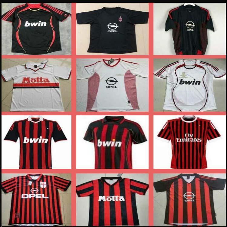 Retro Camisas Home 96 97 Gullit Jersey 02 03 04 Maldini Van Basten Football Ronaldo Kaká Inzaghi AC 06 07 09 Shevchenko
