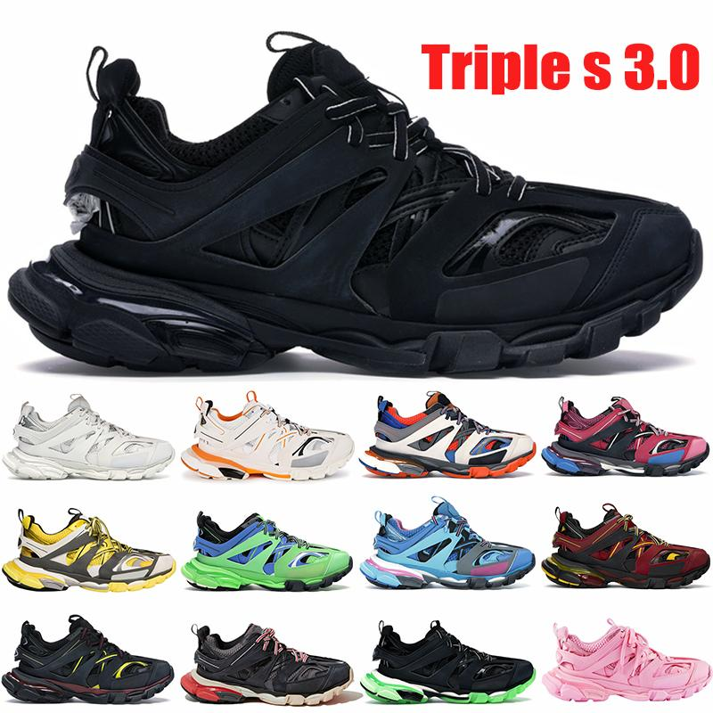 2021 Novo Top Triple S 3.0 Plataforma Paris Homens Sneakers Preto Branco Rosa Brilho nas Mulheres Escuras Mulheres Correndo Tênis