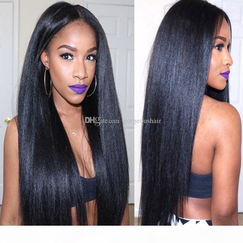 Yaki U Part Wig Virgem Cabelo Glueless Brasileiro Não Transformado Remy Light Yaki Straight UPTART Human Human Wigs para mulheres negras