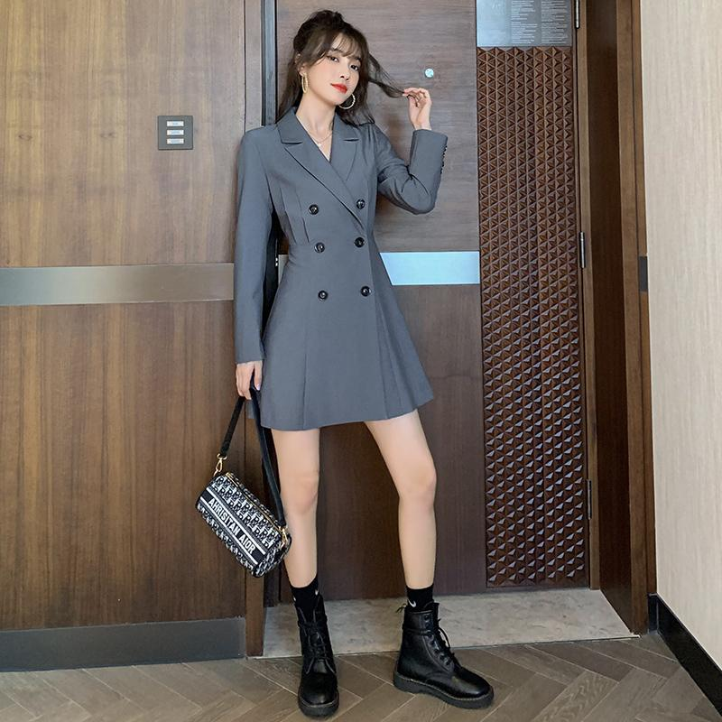 De gama alta de las mujeres del vestido 2020 del otoño nuevos dulce fresco de breasted doble de la cintura y fino traje de la falda corta