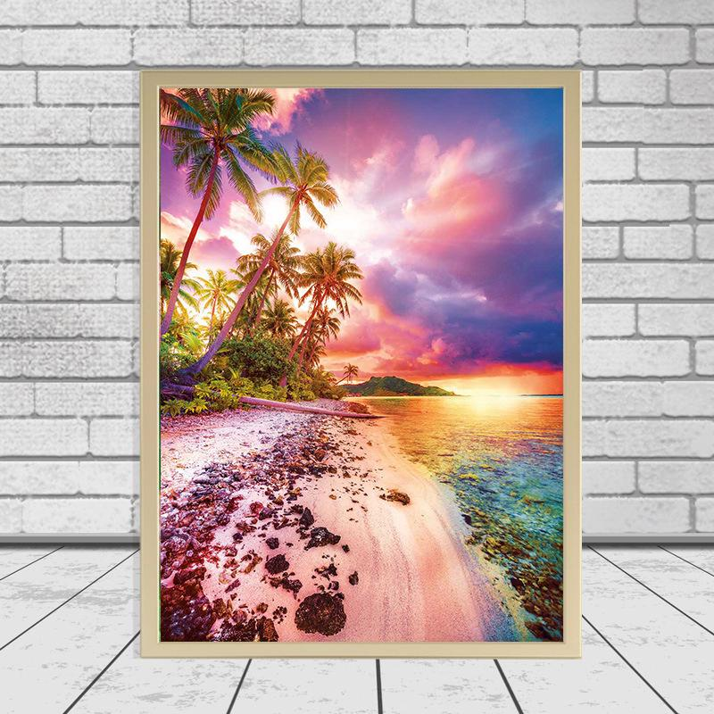 3D DIY Diamond Painting Stitch Cross Stith Diamond Bordery Sea Beach Boat Imagen Puesta de sol Paisaje Etiqueta de Pared Mosaico de diamante completo
