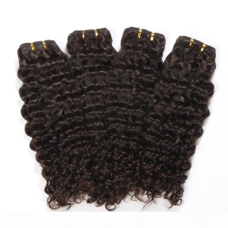Черный Цвет 10-30 дюймов Бразильская Глубокая Волна Человеческие Волосы Weaves Пучки 1 Штам REMY Наращивание Волос 6А Необработанные Двойные Утоки