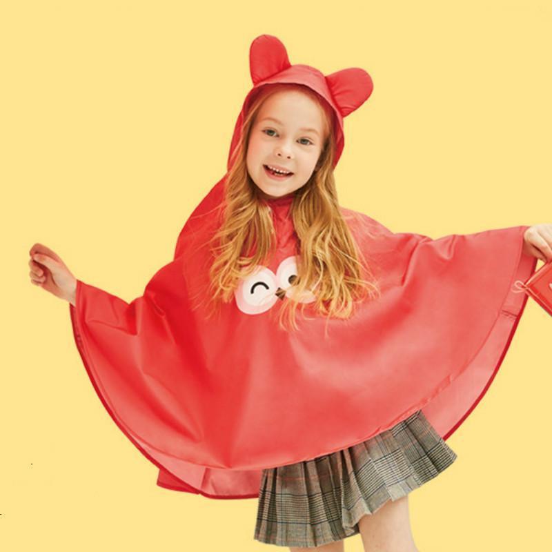 Cartoon Child Rain Poncho Suit Boys and Girls Long Raincoat Kids Red Clothing Rain Coat Rainproof Windproof 3-5years Baby Gift