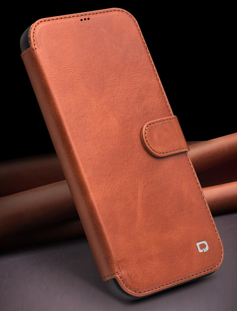 Fashion Genuine Leather Flip Cover for iPhone12\12 Pro Handmade Magnetic Buckle Card Slot Phone Case