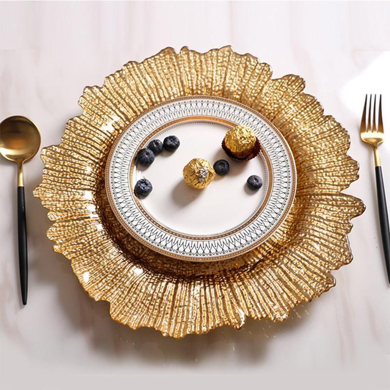 Gerichte Teller Europäische Gold-umrandete Glas Perle Platte Western Teller Fruchtsalat Tray Fancy Steak Geschirr