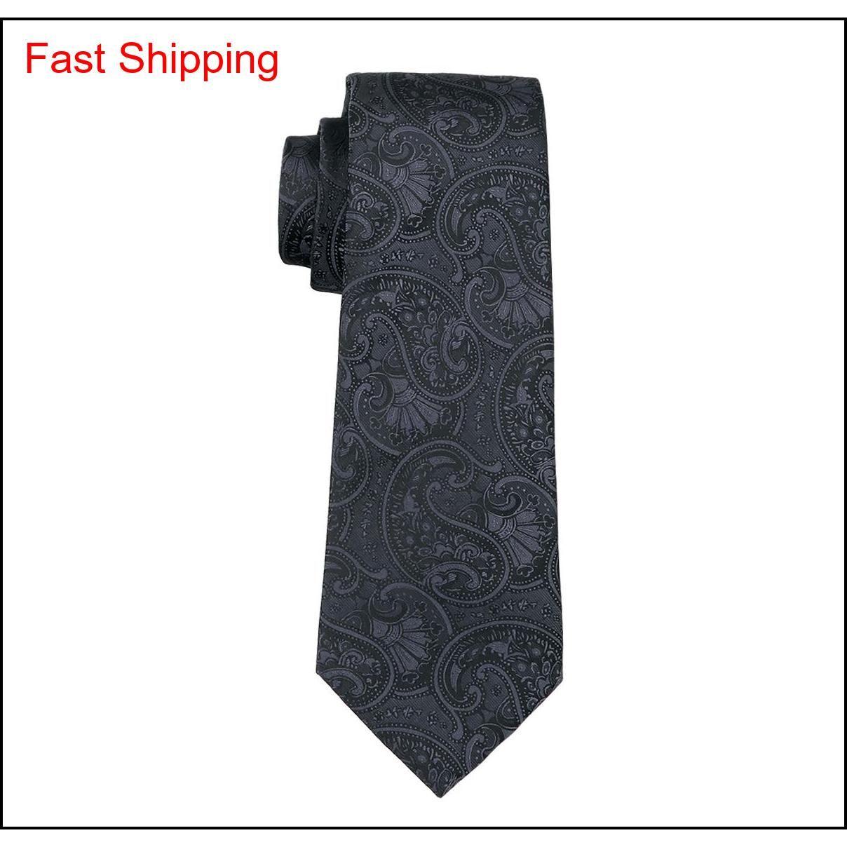 Классический шелковый галстук для мужчин Черный галстук наборы Пейсли мужские галстуки галстуки Hanky запонки жаккардовые тканые встречи формальный B QYLPR NANA_SHOP