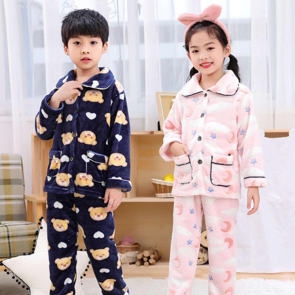 pyjamas costume corail fce chaud flanelle colline maison peluche épaissie vêtements d'enfants