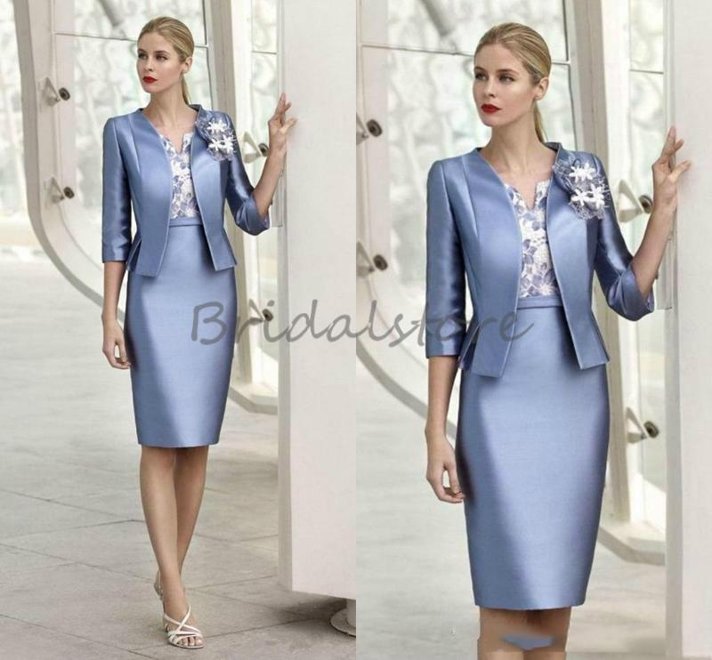 Elegante azul de dos piezas de los vestidos de la novia con la chaqueta 2021 vestido de la fiesta de la noche de las mujeres de la rodilla de la rodilla con las mangas vestido de fiesta barato