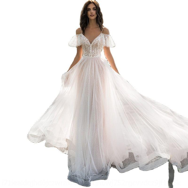 1vrf mode décontracté guiche de fête manches robe robe robe de mariage long soir femmes balle bal promames formelle blanche sucrée