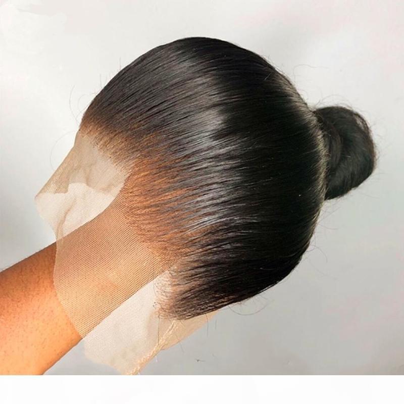 Pelucas del cabello humano del frente del cordón recto sedoso italiano con pelucas de encaje completo de pelo para bebés para mujeres negras Planera natural del cabello natural