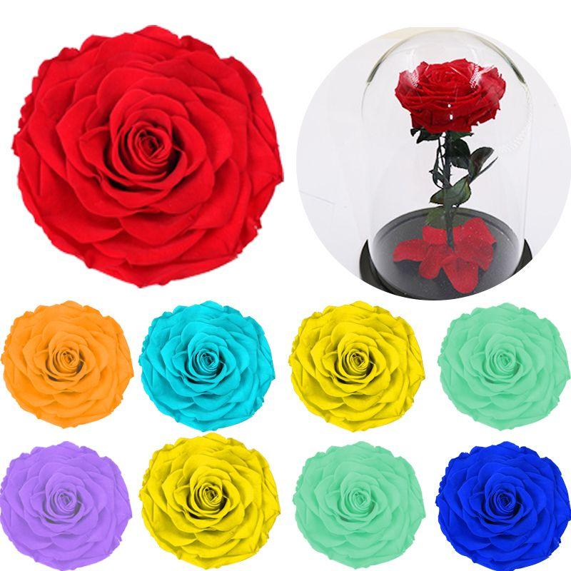8 adet / kutu Yüksek Kalite Korunmuş Çiçekler Çiçek Ölümsüz Gül 5 cm Çap Anneler Günü Hediyesi Sonsuz Yaşam Çiçek Malzeme Hediye Kutusu Y0104