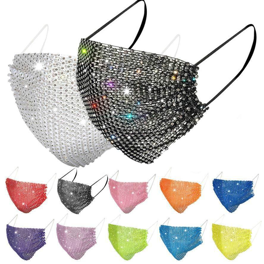 DHL Moda Toz Geçirmez Yüz Maskesi Bling Bling Elmas Koruyucu Maske PM2.5 Ağız Maskeleri Yıkanabilir Kullanımlık Kadınlar Renkli Rhinestones Yüz Maskesi