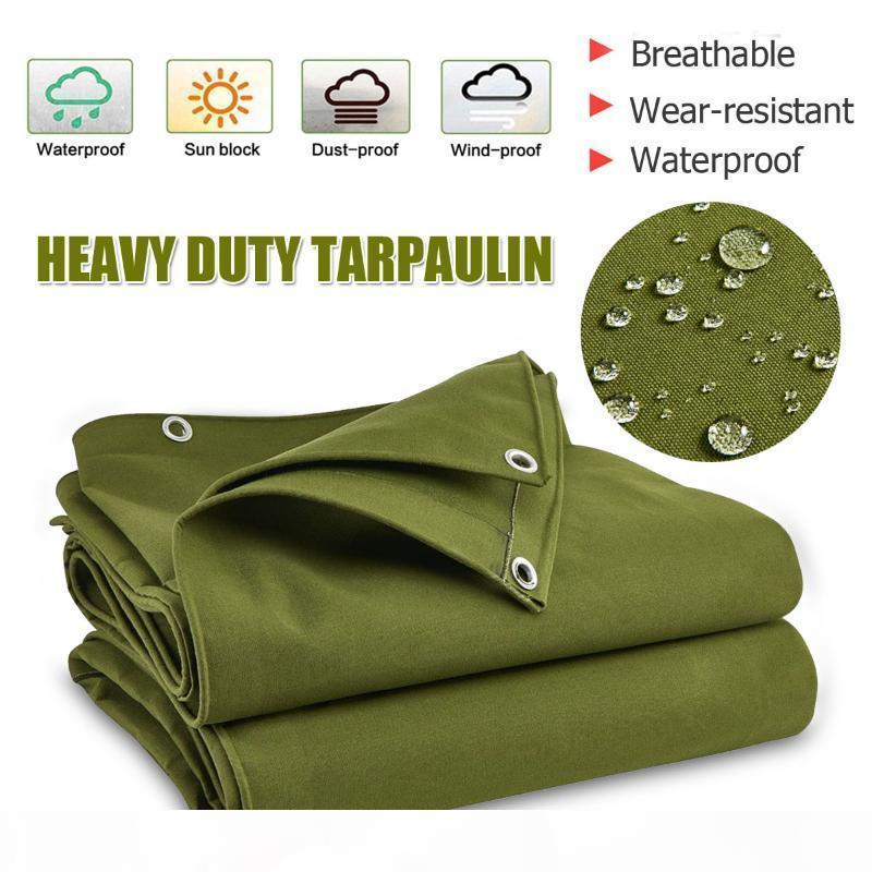 Grande Toile verte Heavy Duty Army Toile Tarpauline Sunshade Sun bloqué Afret d'extérieur imperméable à la poussière