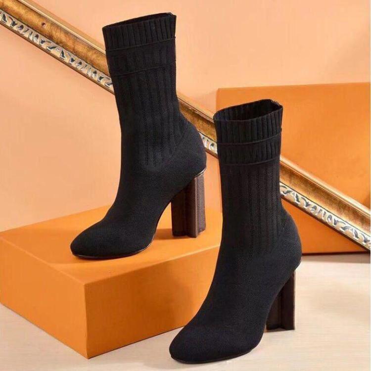 High Heel Boots Sexy Frau Schuhe im Herbst und Winter gestrickte elastische Stiefel dicke Ferse Socken Stiefel Lady Brief High Heels Große Größe 35-42