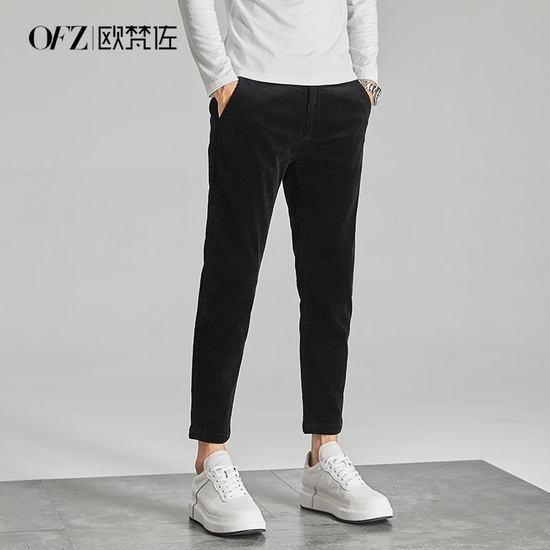Вельвет весенние и осенние брюки мужские девять точка маленькая нога вскользь корейской версии тенденции 9 очков тонкие тела, носить полосы и универсальный