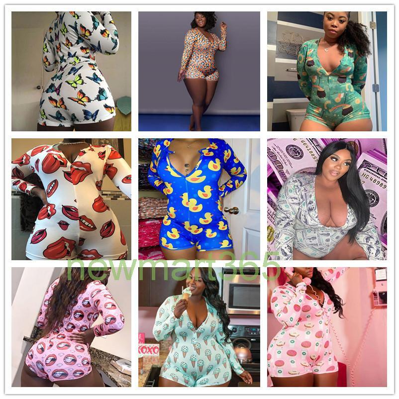 XL-5XL 플러스 사이즈 여성 의류 jumpsuits 홈 바디 수트 파자마 긴 소매 onesies 패션 패턴 인쇄 섹시한 큰 크기 새로운 2021