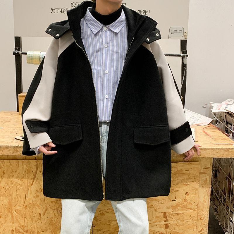 Зима густая шерстяное пальто мужское тепло и мода повседневная шерстяное пальто с капюшоном мужчины Корейский негабарит