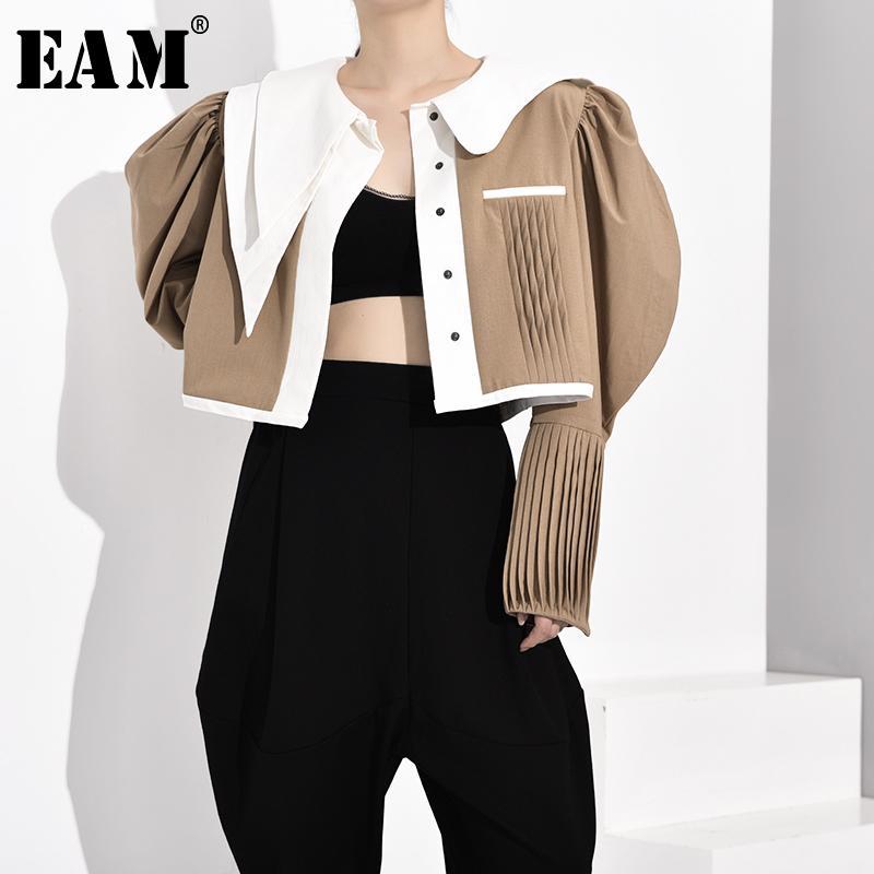 [Eam] mulheres khaki plissado dividido conjunta em forma de blusa nova lapela longa manga solta cab canaduras moda maré primavera outono 2020 jz3250 t200322