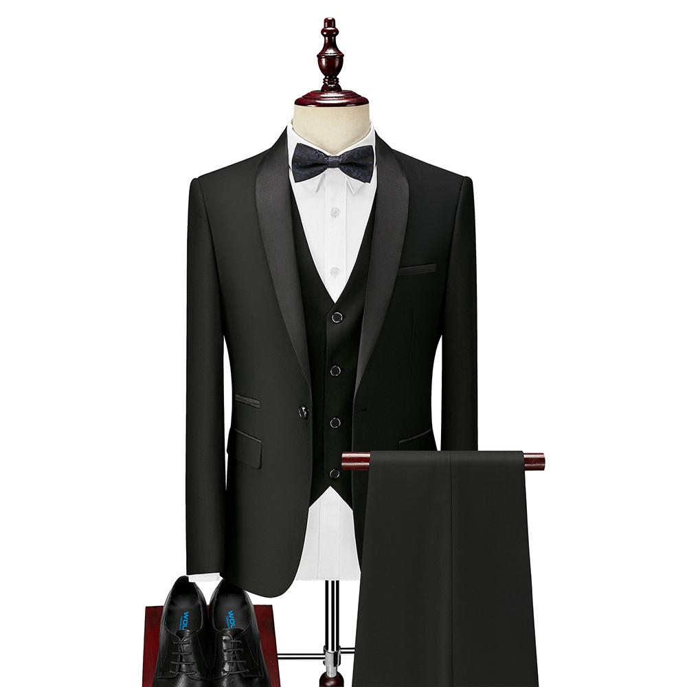 3-х кусок парень мужские костюмы для Slim Fit Wedding Tuxedos черный формальный костюм жениха набор куртка брюки готов на складе 201106