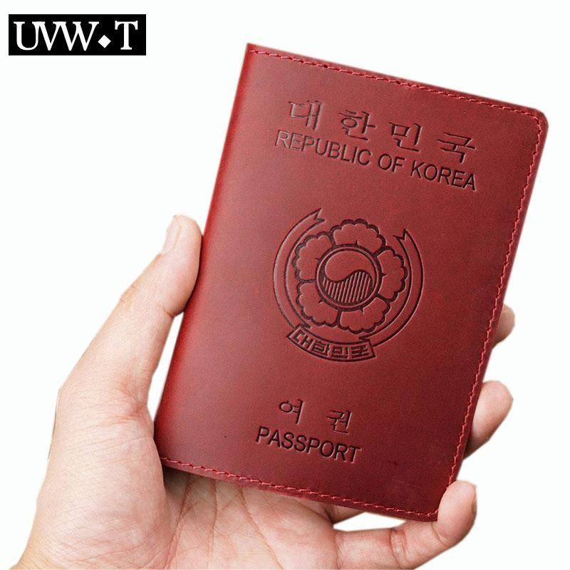 Tarjetas Tarjetas Genuine Vaca Cuero Hombres Mujeres Corea Pasaporte Cubierta Vintage Identificación de negocios Bank Pass Holder Credit Travel Documento monedero