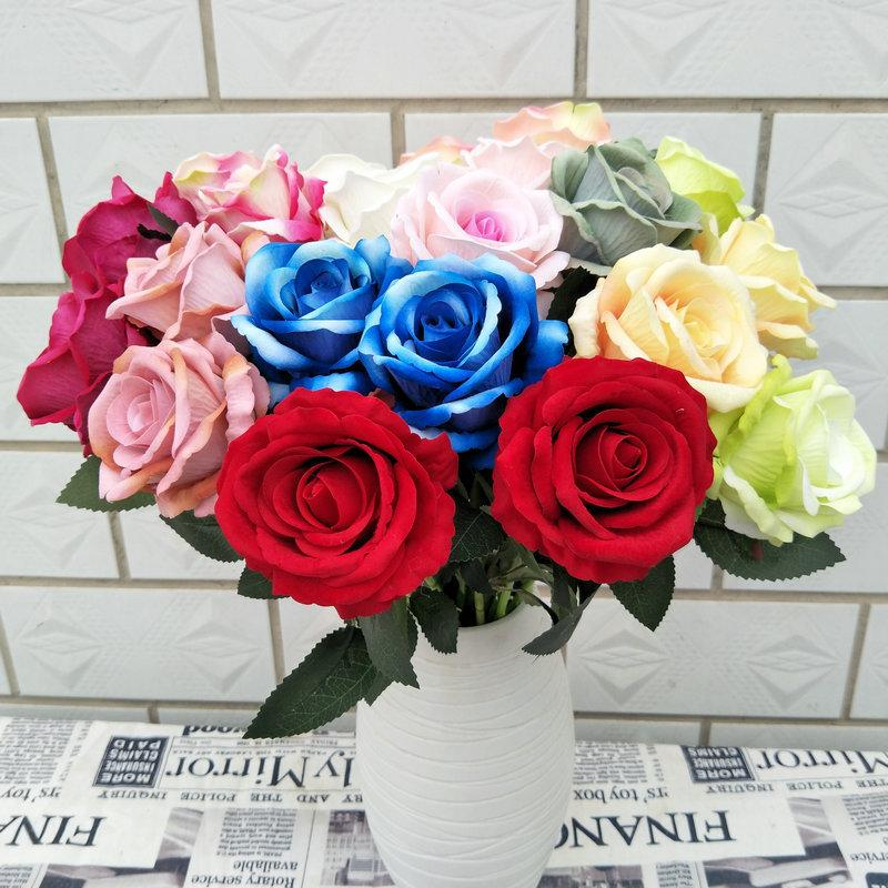 10pcs/lot velvet new rose artificial flower home decoration silk wreath rose flower bouquet silk flower for crafting Z1119